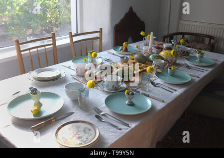 A table laid for Easter breakfast. - Stock Image