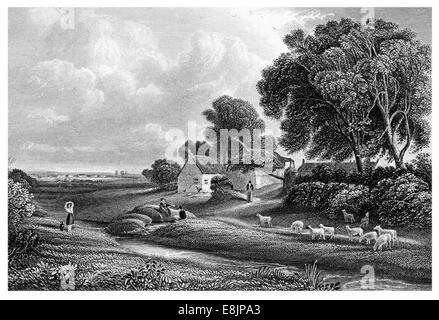 Brow A Hamlet near the Solway Firth Associated with Robert Burns last illness Dumfrieshire Scotland circa 1840 - Stock Image