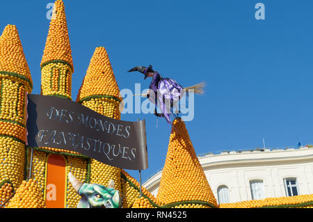 February 16th 2019 Menton, France, a witch flying during the 86th LEMON FESTIVAL during the Carnival of NICE - Stock Image