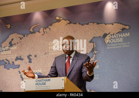 London, UK. 8th Feb, 2019. William Ruto, the deputy president of Kenya, speaks about governance at the Royal Institute of International Affairs, known as Chatham House, in London. Credit: Jon Rosenthal/Alamy Live News - Stock Image