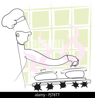 Simple line chef  Chef holding a pot on the cooker. illustration of simple line chef. - Stock Image