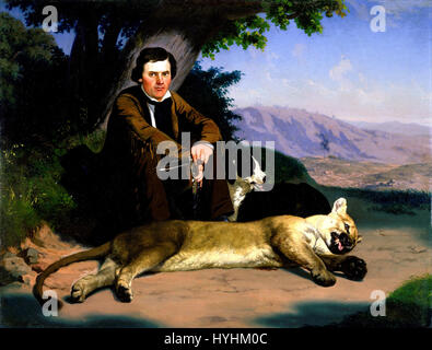 Charles Christian Nahl   Peter Quivey and the Mountain Lion   Google Art Project - Stock Image