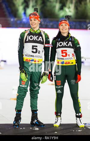 L-R: Simon Groß, Juliane Frühwirth. The German Team Challenge takes place during the JOKA Biathlon WTC auf Schalke featuring young German biathlethes. - Stock Image