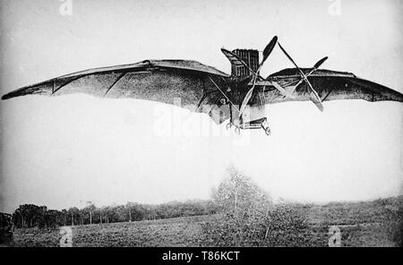 The Ader Avion 3 aircraft. The Avion III (sometimes referred to as the Aquilon or the Éole III) was a primitive steam-powered aircraft built by Clément Ader between 1892 and 1897, financed by the French War Office. - Stock Image