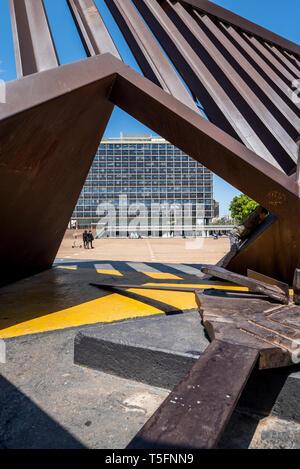 Israel, Tel Aviv-Yafo - 20 April 2019: Holocaust Monument Rabin Square designed by Igael Tumarkin - Stock Image
