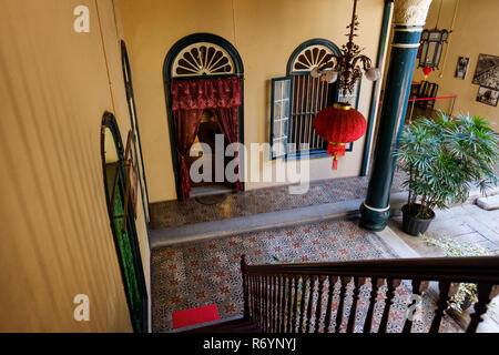 Stairway to ground floor, Tjong A Fie Mansion, a historical landmark in Medan, North Sumatra, Sumatra, Indonesia. - Stock Image