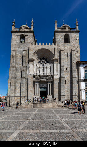 Porto, Portugal, August 15, 2017: Porto Cathedral is one of the most important tourist sights in Porto, Portugal - Stock Image