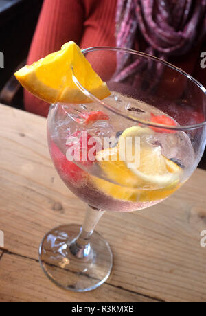 Large gin and tonic drink with fruit - Stock Image