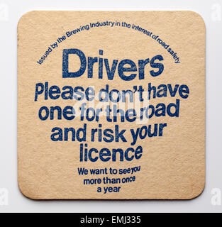 Vintage Beermat with Government Drink Driving Warning - Stock Image