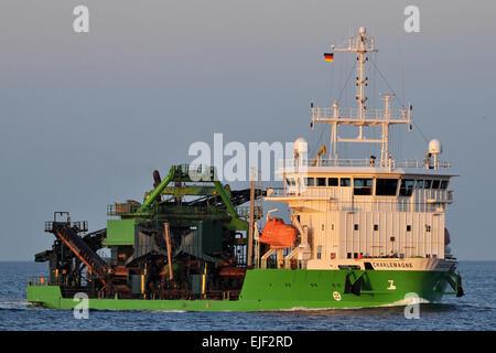 Hopper Dredger Charlemagne inbound Kiel Fjord - Stock Image