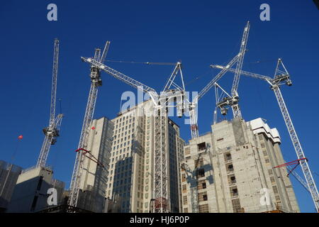 Building Construction with Cranes, Waterloo, London, UK - Stock Image