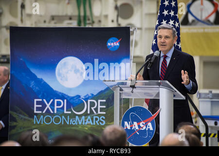 Kennedy Space Center Director Bob Cabana addresses employees on progress toward sending astronauts to the Moon and on to Mars during a televised event at the Kennedy Space Center March 11, 2019 in Cape Canaveral, Florida. - Stock Image