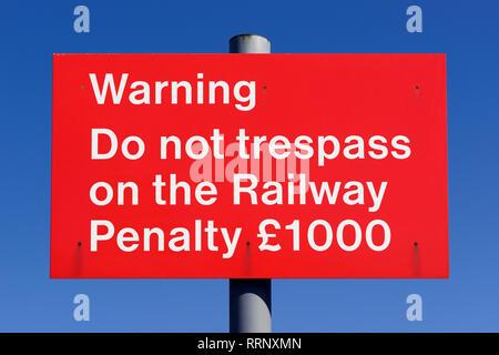Do Not Trespass On The Railway Sign, UK - Stock Image