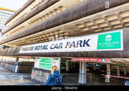 Theatre Royal car park Plymouth, Plymouth, Devon, UK, England, Theatre Royal car park, car park, car parks, Plymouth, UK, building, exterior, signs, - Stock Image