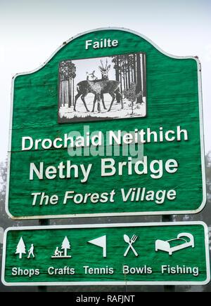 Sign outside the village of Nethy Bridge, Strathspey, Scotland, UK - Stock Image