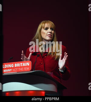 Liverpool, UK. 24th September 2018. Angela Raynor Shadow Secretry of State for Education speaking at the Labour Conference in Liverpool. 2018 Credit: Della Batchelor/Alamy Live News - Stock Image