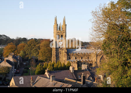 Rooftop view of Tideswell Church, Derbyshire England UK - Stock Image