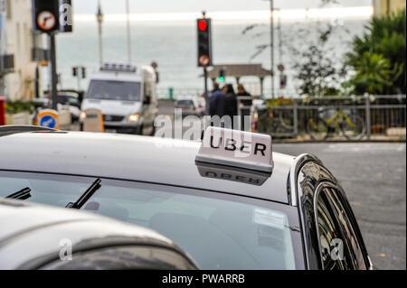 Brighton UK 14th October 2018 - Uber taxi cab in Brighton - Stock Image