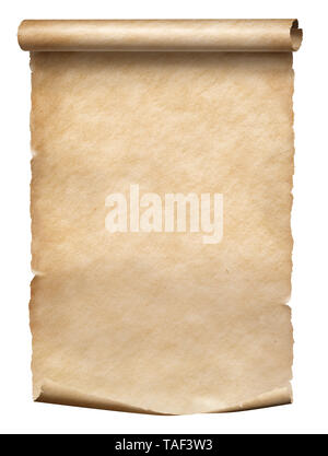 Old parchment scroll isolated on white - Stock Image