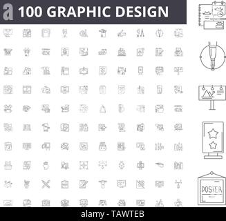Graphic design line icons, signs, vector set, outline illustration concept  - Stock Image