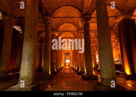 Istanbul, Turkey - August 15, 2018: Illuminated columns of the Basilica Cistern on  August 15, 2018, in Istanbul, Turkey. - Stock Image
