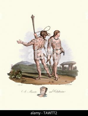 Maeatae and Caledonian tattooed warriors. 1815, The Costume of the Original Inhabitants of the British Islands, by MEYRICK, Samuel Rush and SMITH Char - Stock Image