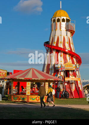 Goodwood Revival, old fashioned helter skelter in fairground, Chichester, West Sussex, England - Stock Image