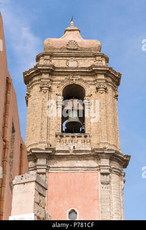 Italy Sicily medieval walled town Erice on Monte San Giuliana cult Venus Erycina Cheese di S Giuliana St Julians Church Baroque bell tower 1770 - Stock Image