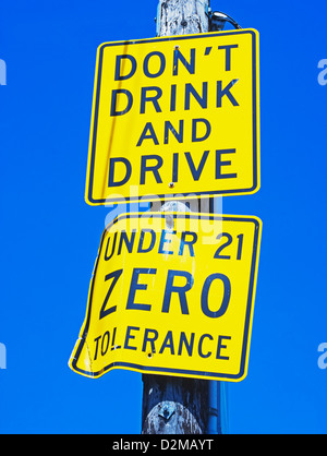 don't drink and drive sign - Stock Image