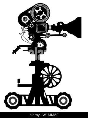movie retro cinematography object cinema silhouette  movie - Stock Image