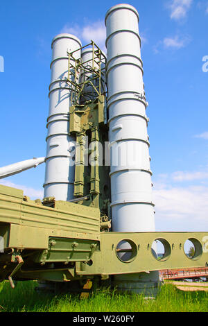 Soviet surface-to-air anti aircraft systems on the military exhibition - Stock Image