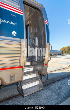 Steps Stairs Of Amtrak Railway Train, USA - Stock Image