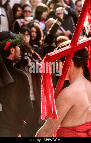 Nocera Terinese (Italy) - The old rite of 'Vattienti' in Easter Holy Saturday. The Vattienti flagellate themselves to offer their blood to Holy Mary - Stock Image