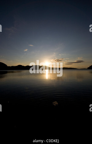 Sunset over Loch Ewe from Poolewe - Stock Image