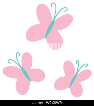 butterfly pink insect nature wing fly illustration - Stock Image