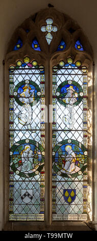 Stained glass window in church of Saint Margaret, South Elmham, Suffolk, England, UK c 1917 possibly by FC Eden - Stock Image