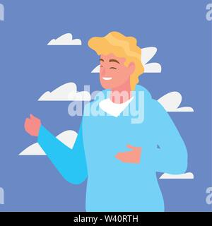 man character portrait sky background vector illustration - Stock Image