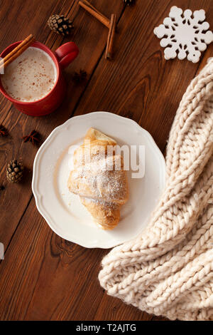 Croissant on plate - Stock Image
