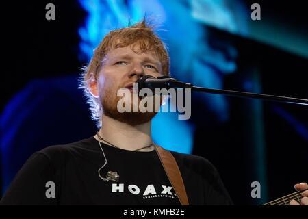 Sao Paulo, Brazil. 14th Feb 2019. Ed Sheeran performs Divide tour at Allianz Park. Februery, 14, 2019 in São Paulo, Brazil Credit: Adriana Spaca/Alamy Live News - Stock Image