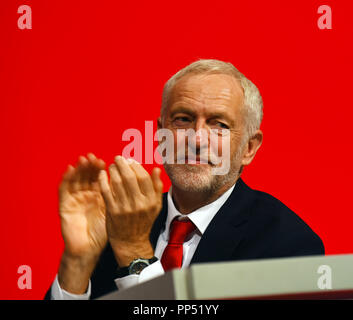 Liverpool, UK. 23rd Sept 2018. Jeremy Corbyn, Leader Labour Pary at the LAbour PArty Conference Liverpool Credit: Della Batchelor/Alamy Live News - Stock Image