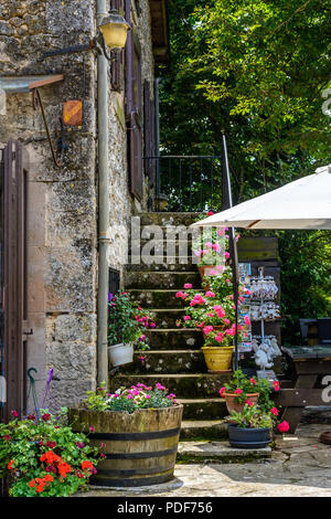 Street corner in La Couvertoirade fortified town in Larzac region, France departement Aveyron - Stock Image
