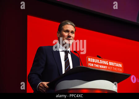 Liverpool, UK. 25th September, 2018. Keir Starmer Shadow Secretary ofState for Eiting the European Union Credit: Della Batchelor/Alamy Live News - Stock Image