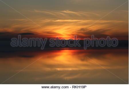 Sunset over Tay Estuary Dundee Scotland  January 2019 - Stock Image