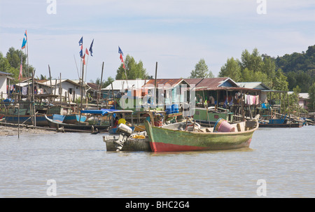 Traditional fishing village, Bako National Park, Bako, Sarawak, Borneo - Stock Image