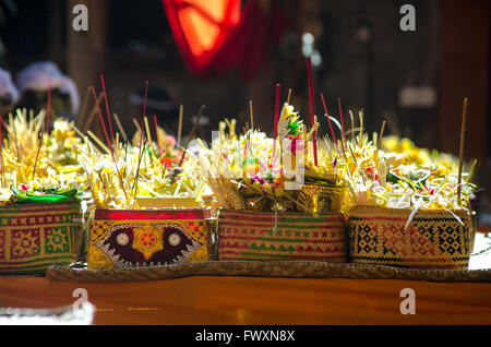 Offering in Temple Ceremony in Bali - Stock Image