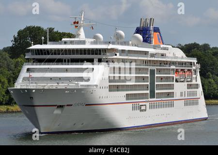 Hapag-Lloyd's latest cruiseship Europe 2 passing the Kiel-Canal - Stock Image