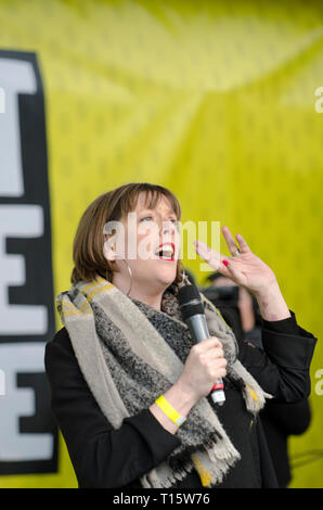 London, UK. 23rd Mar, 2019. Jess Phillips Labour MP, speaking at the People's Vote March and rally, 'Put it to the People.' Credit: Prixpics/Alamy Live News - Stock Image
