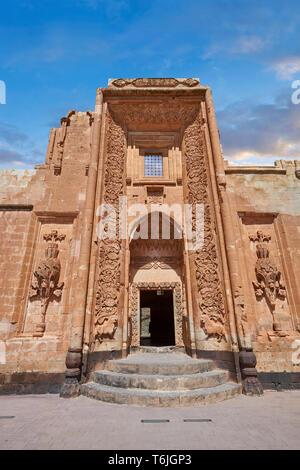 Main Harem entrance of the 18th Century Ottoman architecture of the Ishak Pasha Palace (Turkish: İshak Paşa Sarayı) ,  Agrı province of eastern Turke - Stock Image