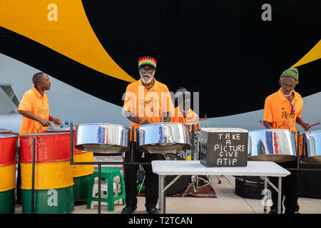 Steel band playing in Saint John's, Capital of Antigua and Barbuda - Stock Image