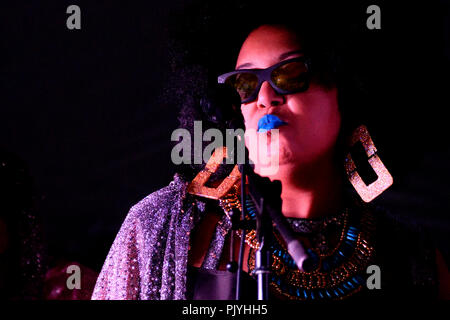Philadelphia, USA. 08th Sep, 2018. Vocalist Tara Middleton performs on stage with cosmic and experimental jazz ensemble Sun Ra Arkestra, conducted by the 94 year old Marshall Allen, in Philadelphia, PA, on September 8, 2018. Credit: PhotograPHL/Alamy Live News - Stock Image